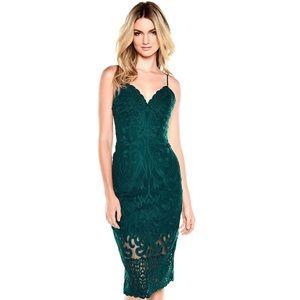 BARDOT Gia Lace Midi Pencil Dress Ever Green XS